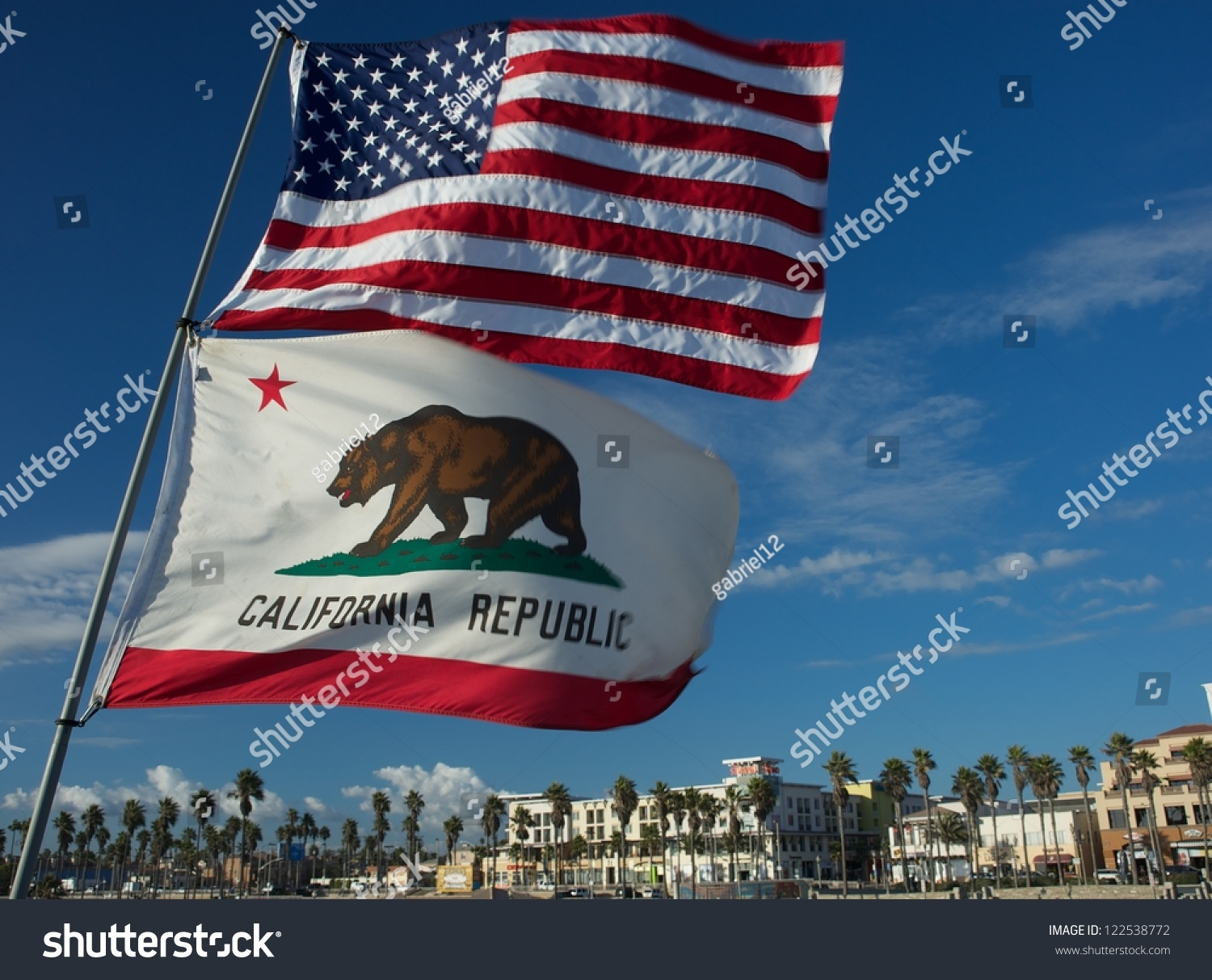 Huntington beach california stock photos and pictures getty images - Us And California State Flag Fluttering On Huntington Beach California