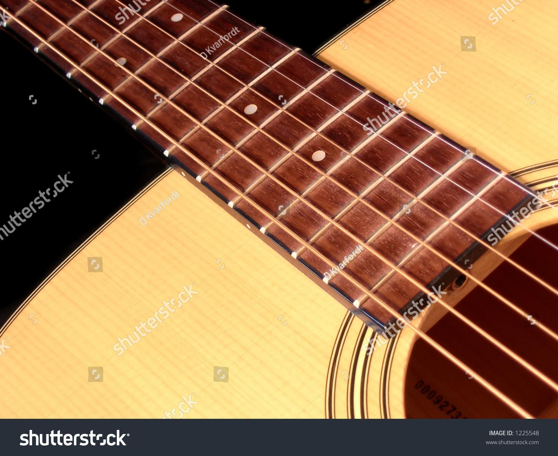close acoustic guitar strings frets sound stock photo 1225548 shutterstock. Black Bedroom Furniture Sets. Home Design Ideas