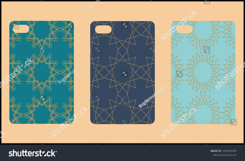 1eacb21a283742 Phone case mockup. Memphis pattern background. Gradients geometric shape  style. Smartphone cases set