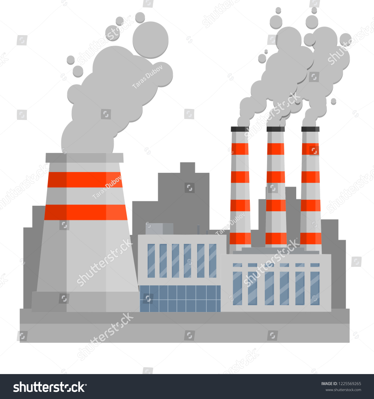 Thermal Power Plant Industrial Zone Urban Stock Vector Royalty Free 1225569265