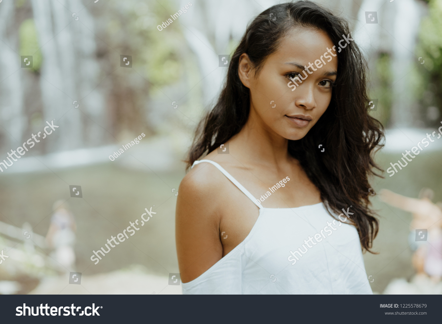 Close Exotic Beauty Asian Woman Nature Stock Photo Edit Now 1225578679