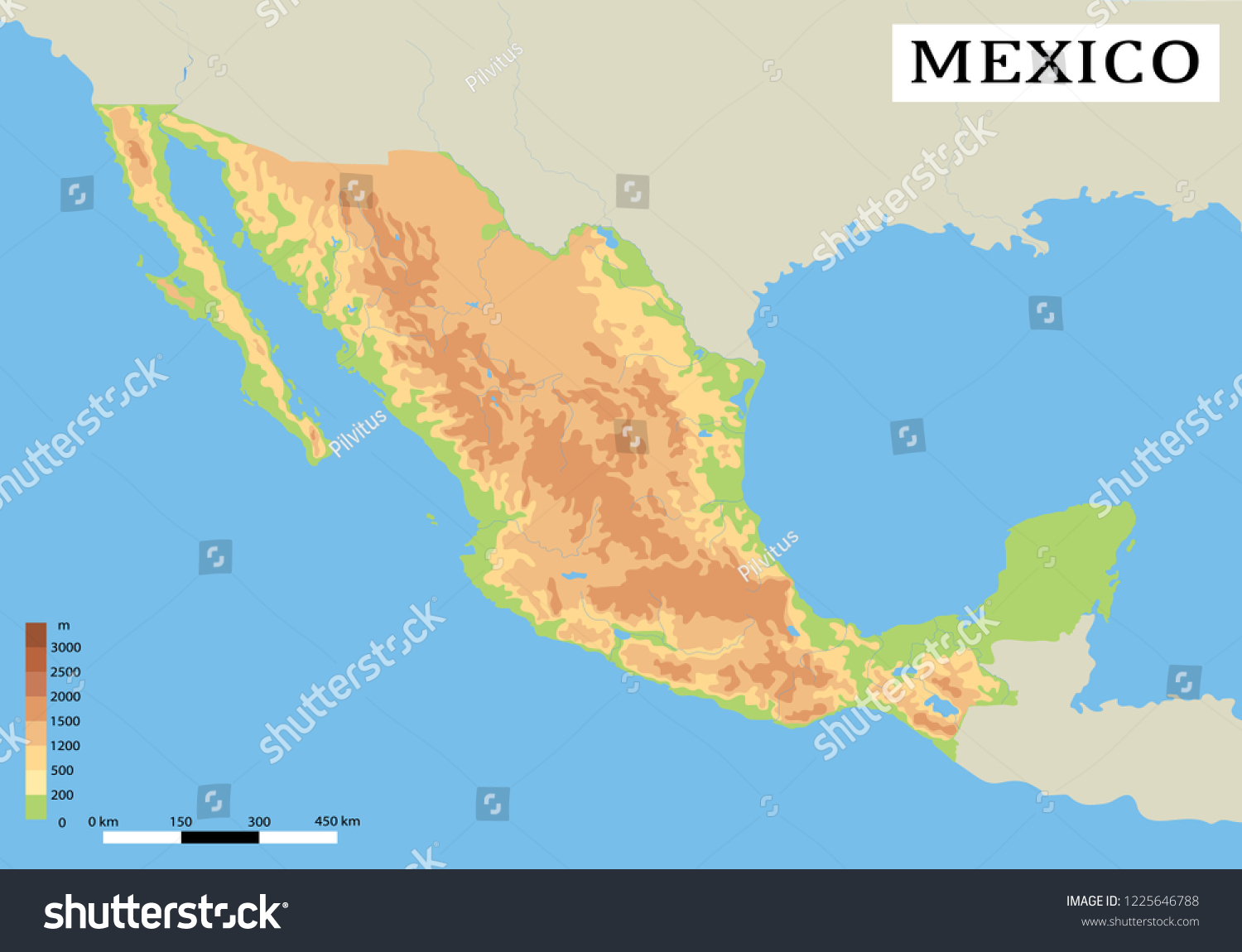 Mexico Detailed Physical Map Country Colored Stock Vector (Royalty ...