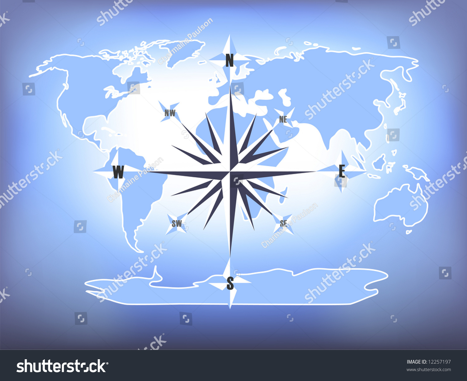blue compass rose world map hand stock illustration 12257197
