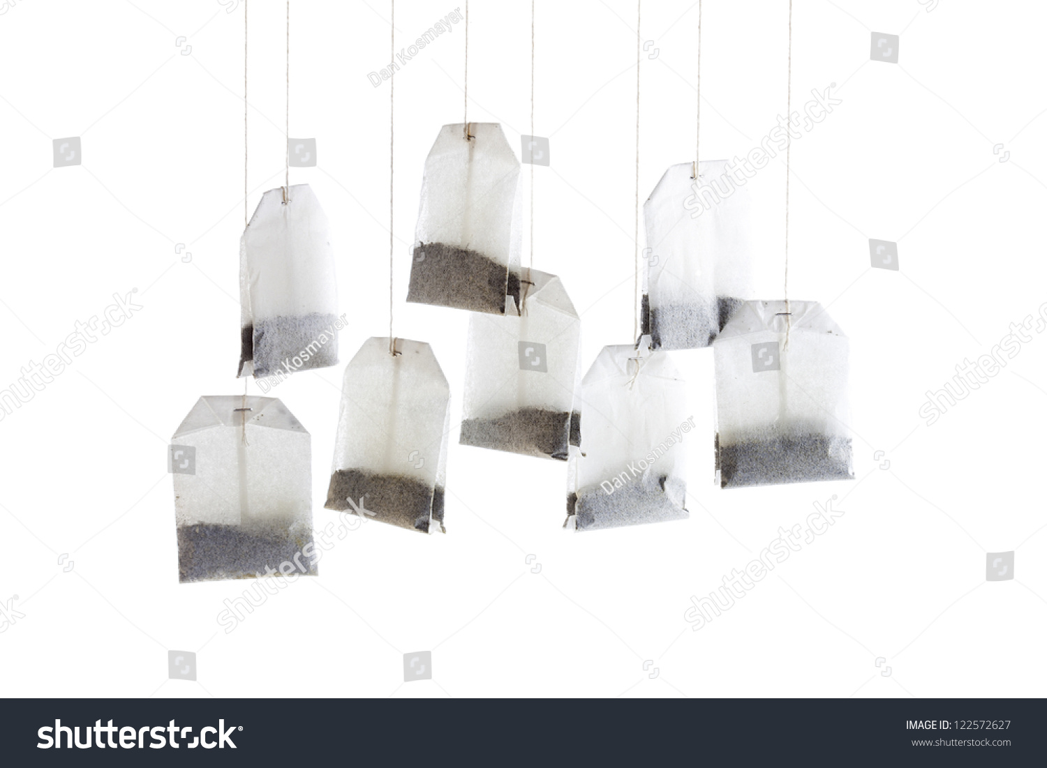 Hanging Tea Bags Closeup Image Stock Photo 122572627 ...