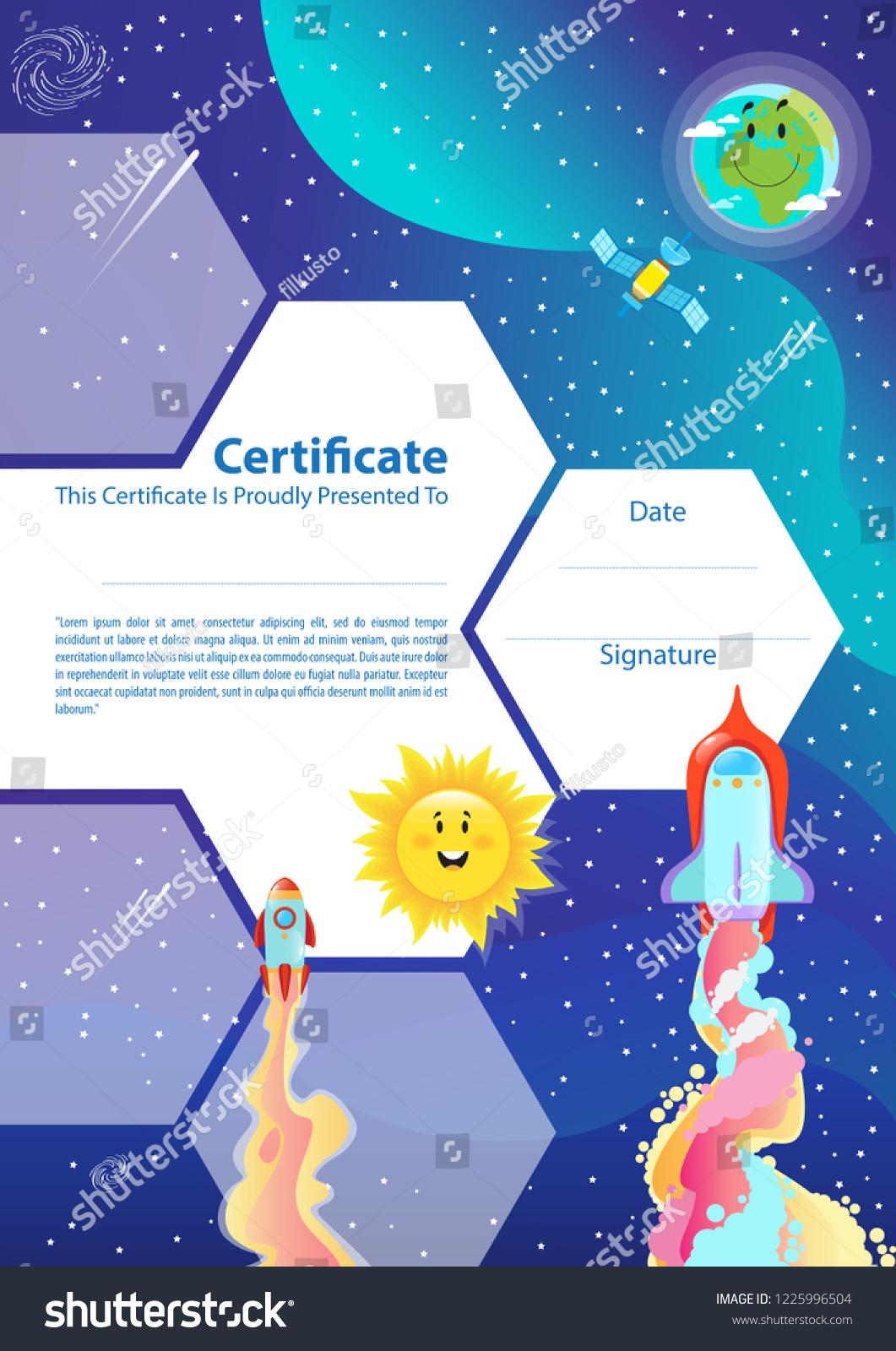 Certificate Template Kids Space Theme Spaceship Stock Vektorgrafik