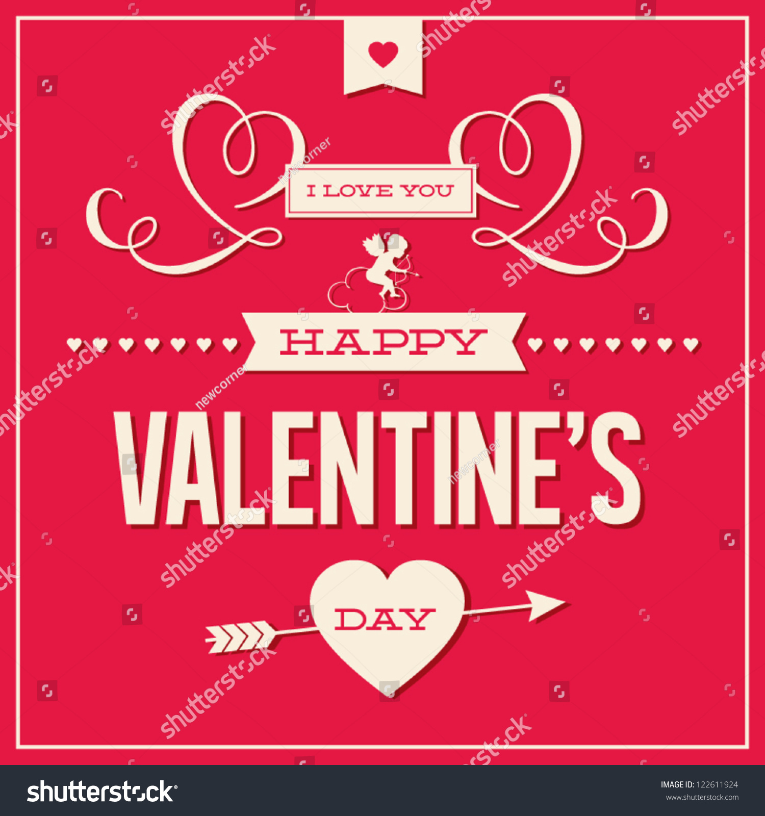 Happy Valentines Day Cards Ornaments Hearts Vector 122611924 – Happy Valentines Day Cards Images