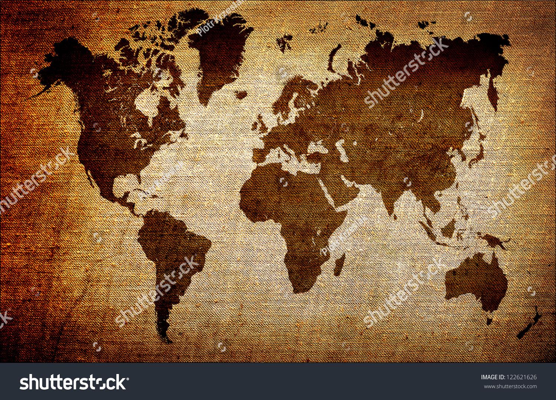 Grunge world map background stock photo 122621626 shutterstock grunge world map background gumiabroncs Gallery