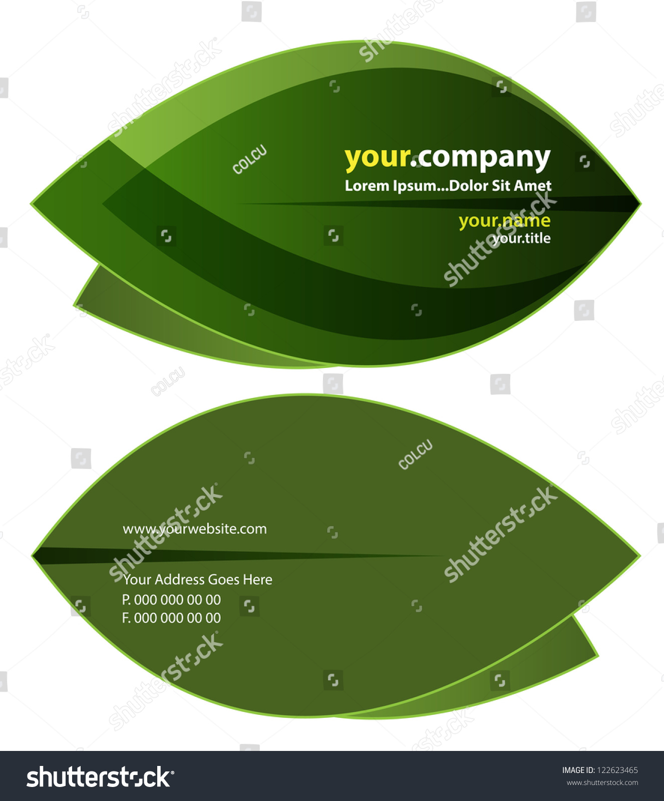 Green Leaf Business Card Front Back Stock Vector 122623465 ...