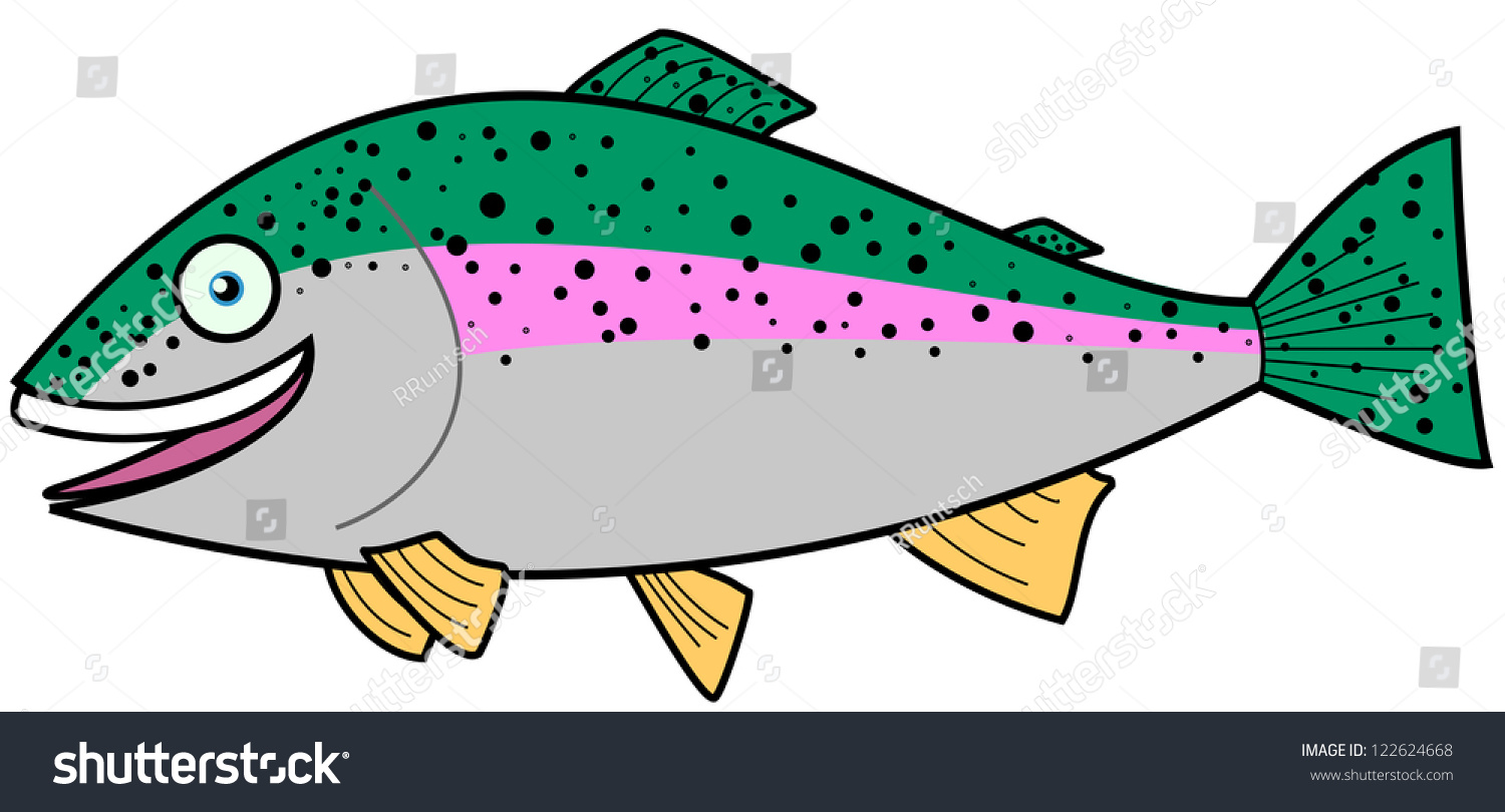 Rainbow trout cartoon character stock vector 122624668 for Trout fishing spots near me
