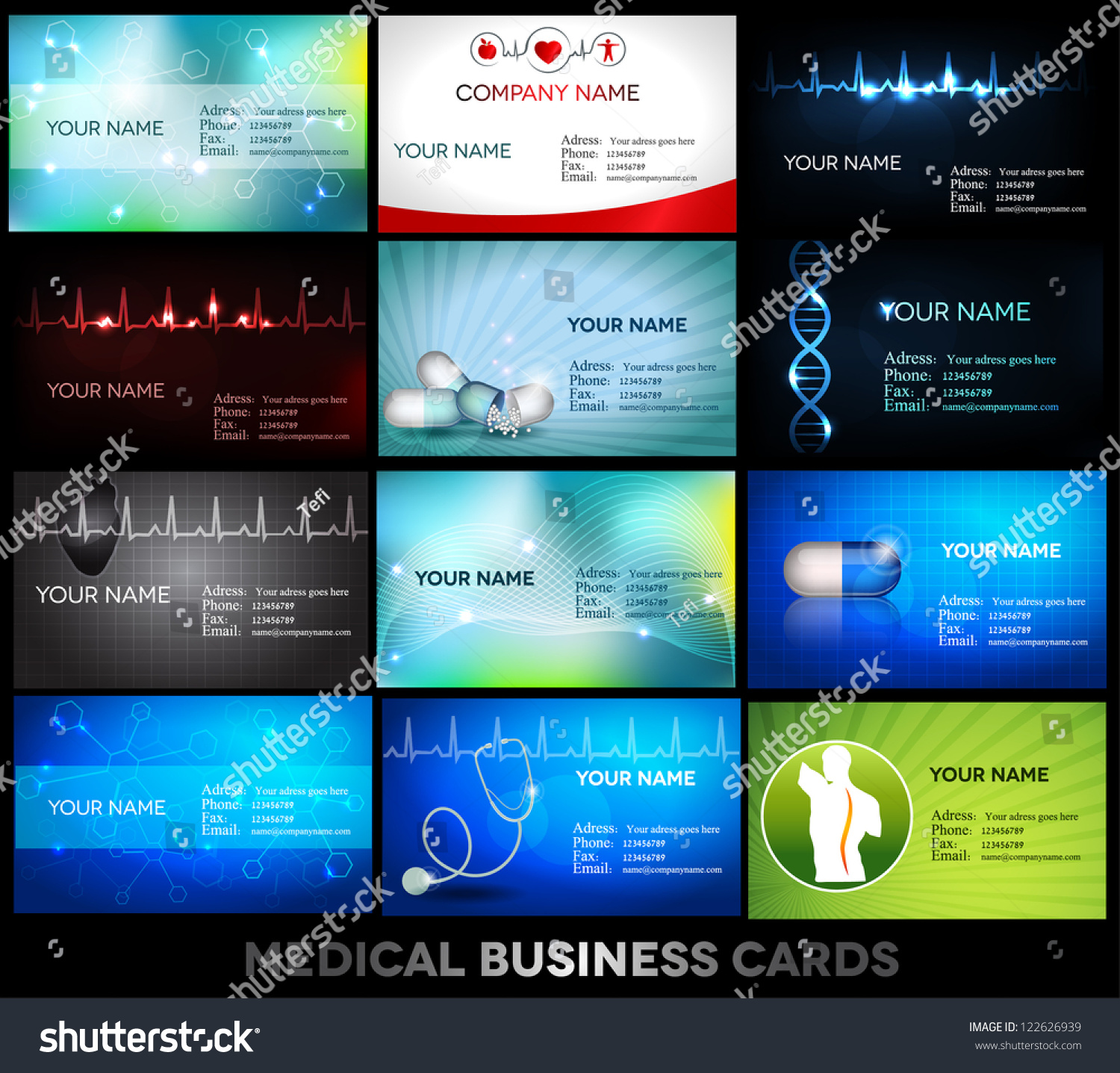 Medical Business Cards Collection Bright Elegant Stock Vector ...