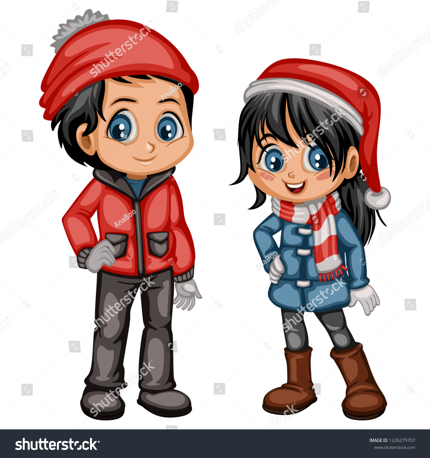 5b4fcacb1 Cute Cartoon Boy Girl Winter Clothes Stock Vector (Royalty Free ...
