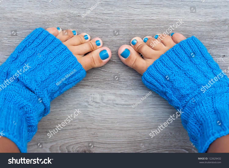 Women Feet Blue Nails Manicure Blue Stock Photo Edit Now 122629432