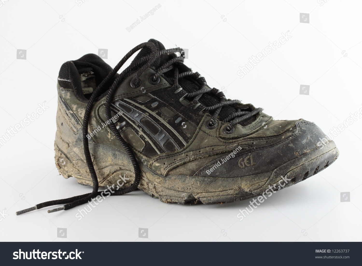 Dirty Used Trail Running Shoe On Stock
