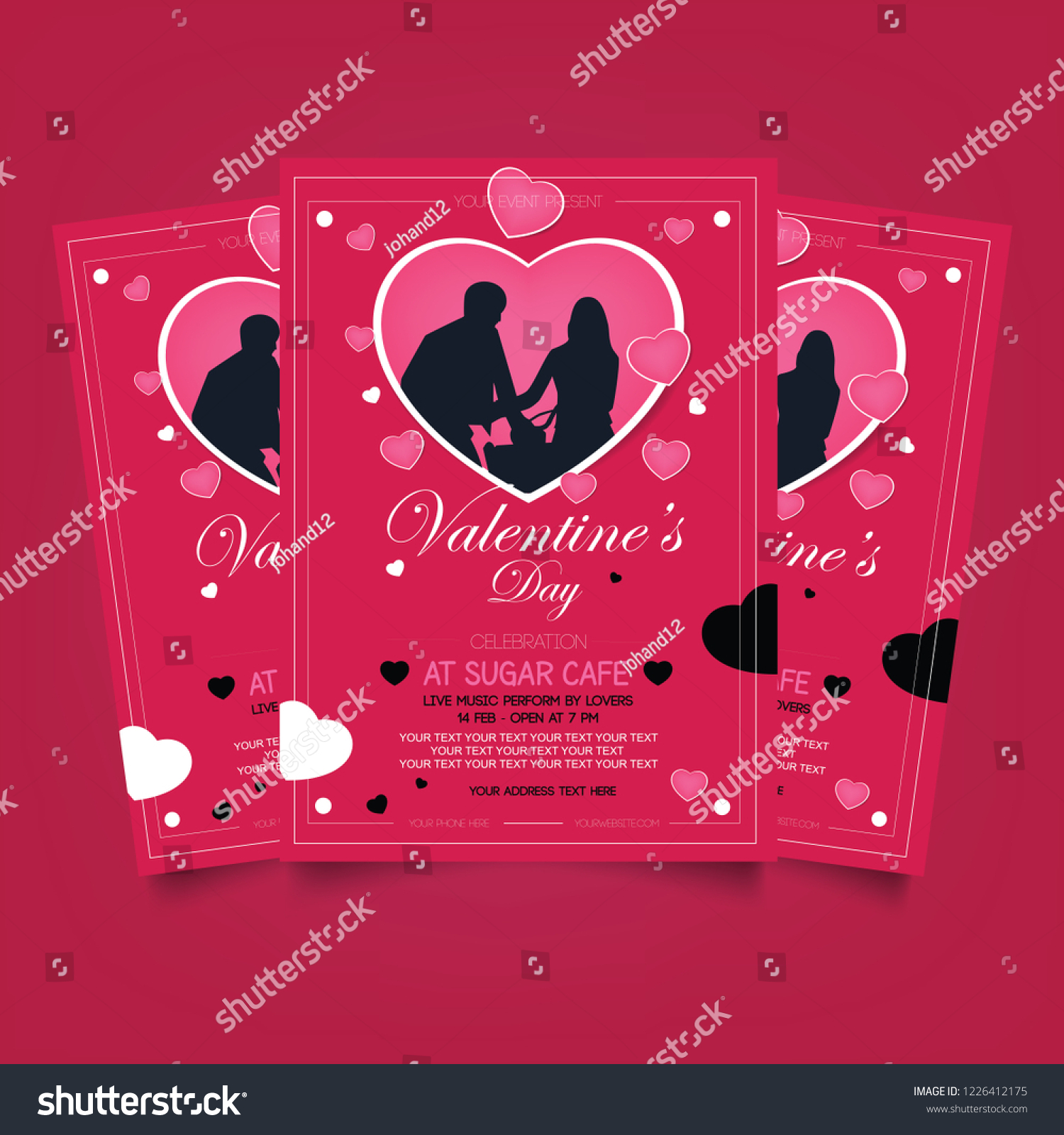 Valentines Flyer Template On Red Background Stock Vector Royalty