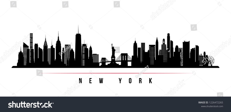 New York City Skyline Horizontal Banner Stock Vector Royalty Free 1226472265