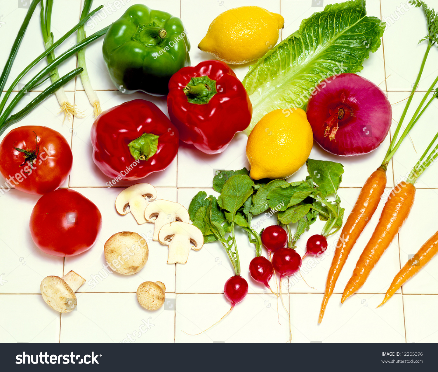 Kitchen Tiles Fruits Vegetables: Vegetables On White Tile Stock Photo 12265396 : Shutterstock