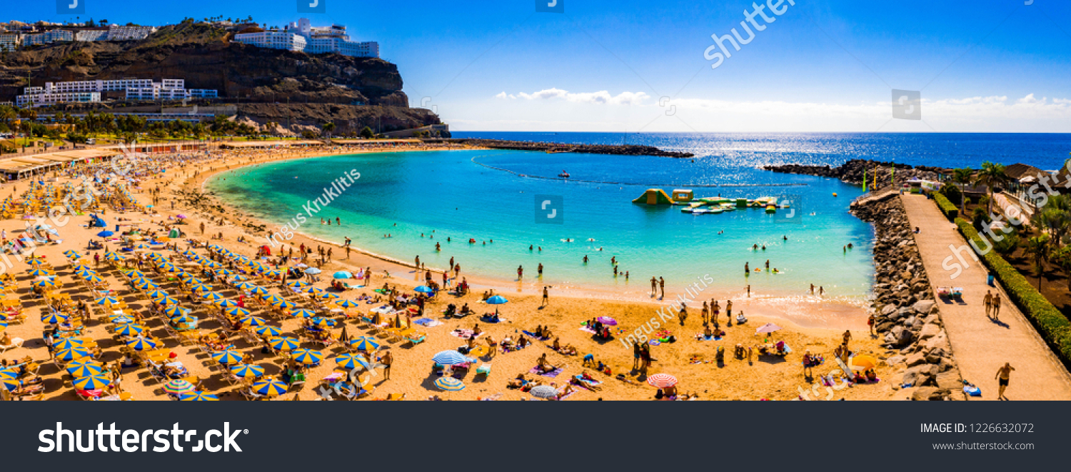Aerial panorama view of the Amadores beach on the island of Gran Canaria, Spain. #1226632072