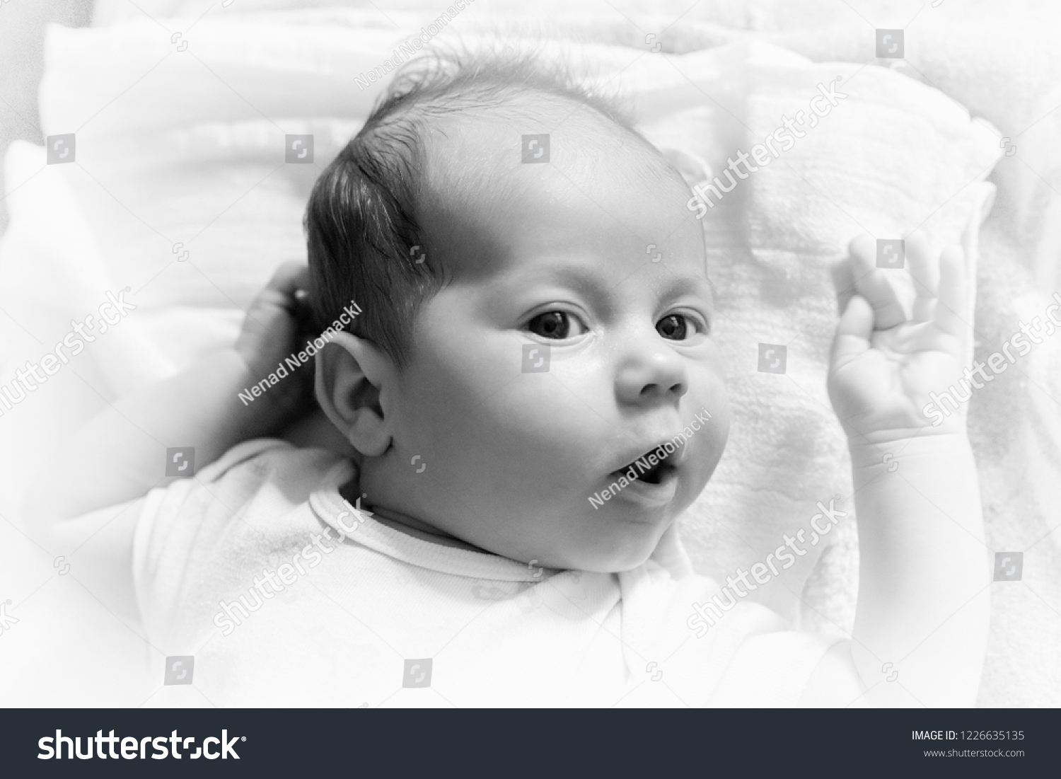 Newborn one month old baby lying stock photo edit now 1226635135