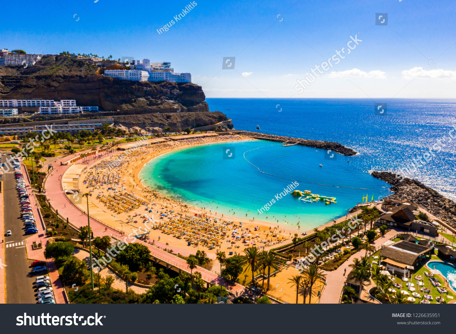 Aerial view of the Amadores beach on the Gran Canaria island in Spain. The most beautiful beach on the island. #1226635951