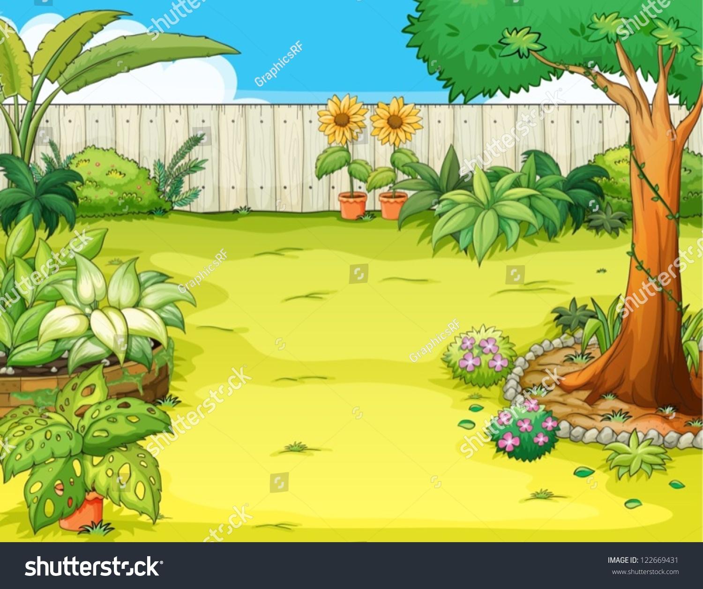 Beautiful garden cartoon - Illustration Of A Beautiful Garden And Various Plants