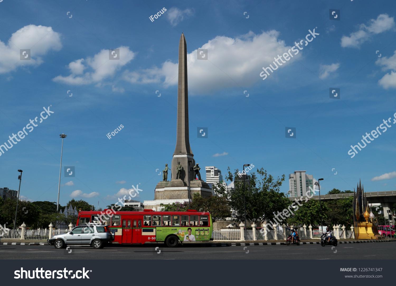 BANGKOK, THAILAND - NOVEMBER 11, 2018: Victory Monument soars into blue sky on November 11, 2018 in Bangkok, Thailand.