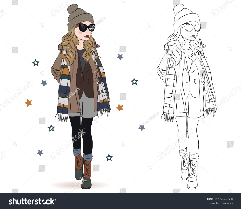 Set Hand Drawn Beautiful Cute Winter Stock Vector Royalty Free 1226769580