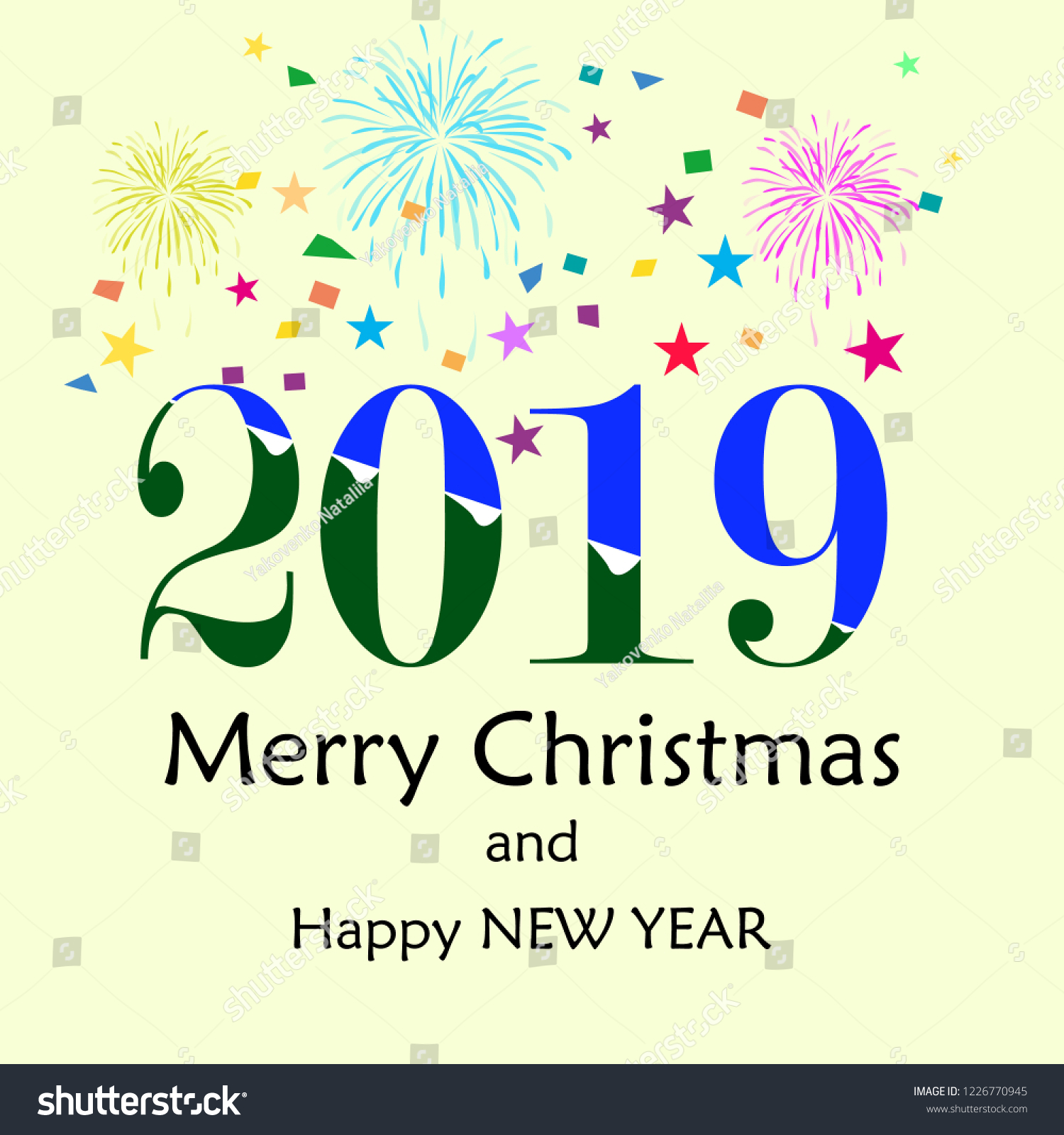 merry christmas and happy new year lettering and 2019 on white background fashion graphic background