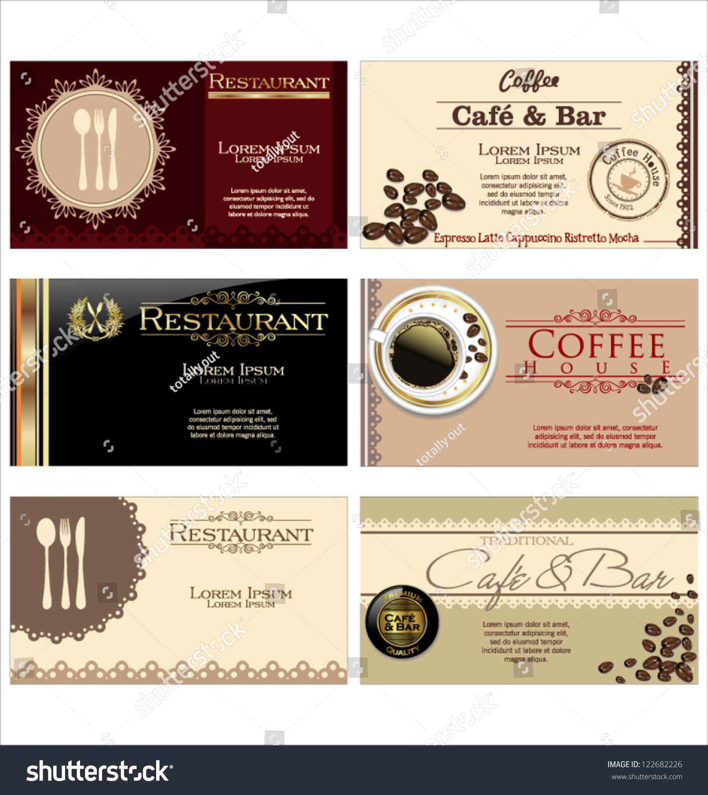 business cards cafe restaurant stock vector shutterstock