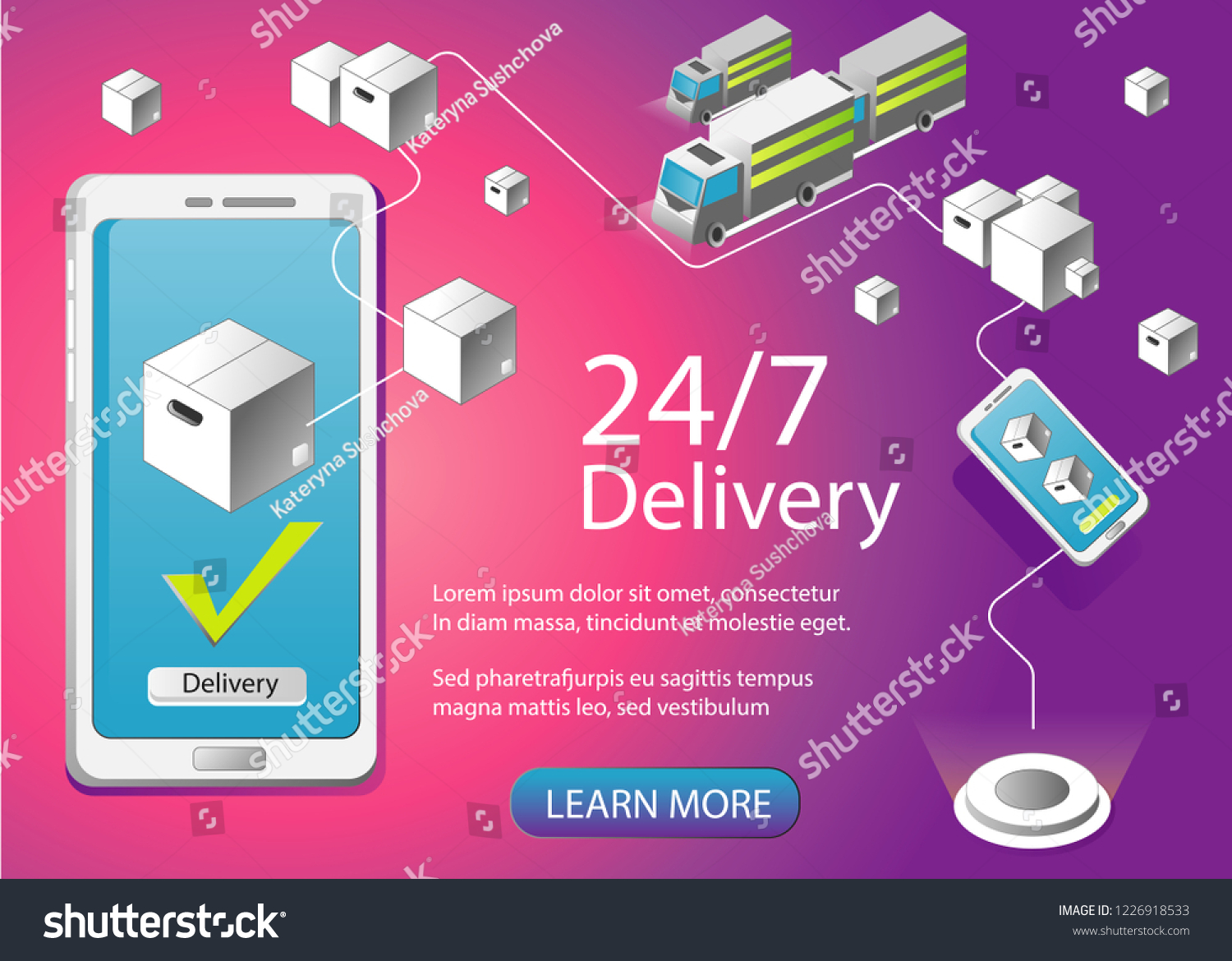 Courier Delivery Order Fast Page Banner Stock Vector (Royalty Free
