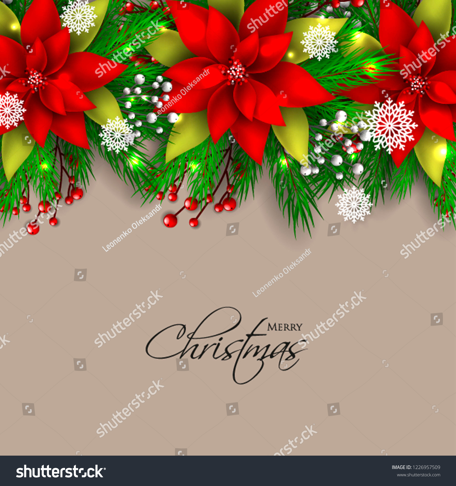 Red Poinsettia Christmas Party Invitation Vector Stock Vector (Royalty  Free) 1226957509
