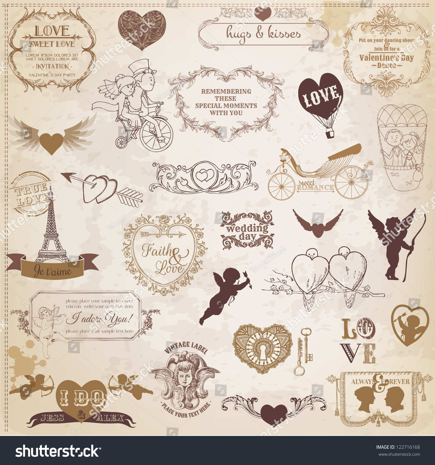 How to scrapbook wedding invitations - Scrapbook Design Elements Valentine S Day Love Set For Wedding Invitation Scrap