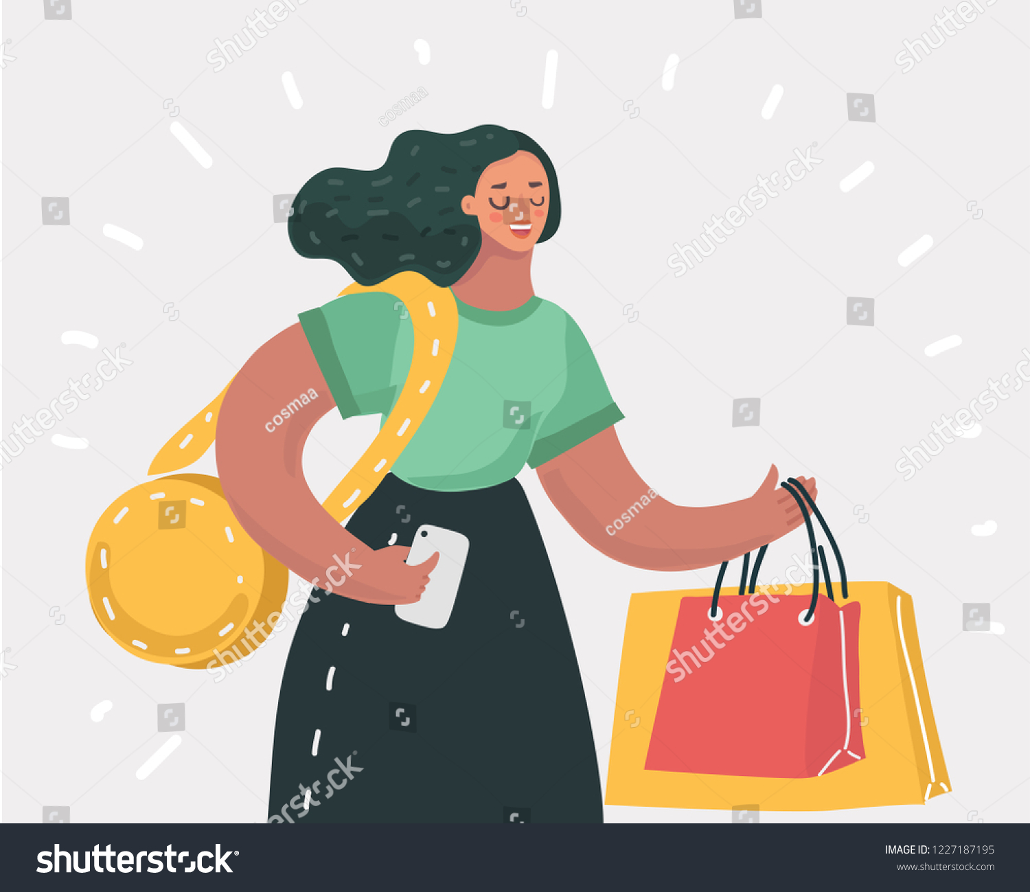 2c753fbed32 Vector Cartoon Illustration Shopping Woman Bags Stock Vector ...