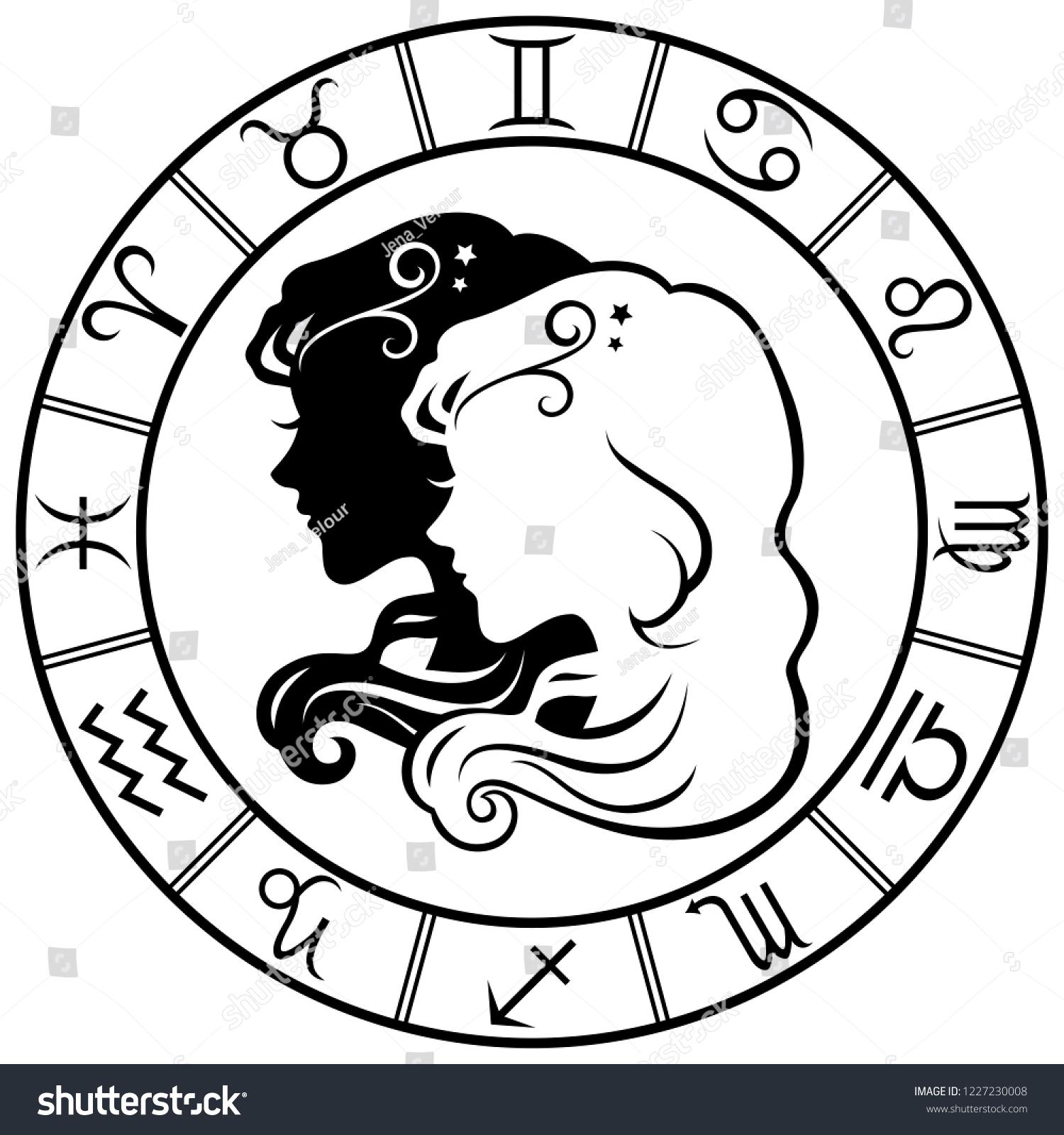 4b5f2709b Gemini. Horoscope. Zodiac sign. Silhouette isolated on white background.