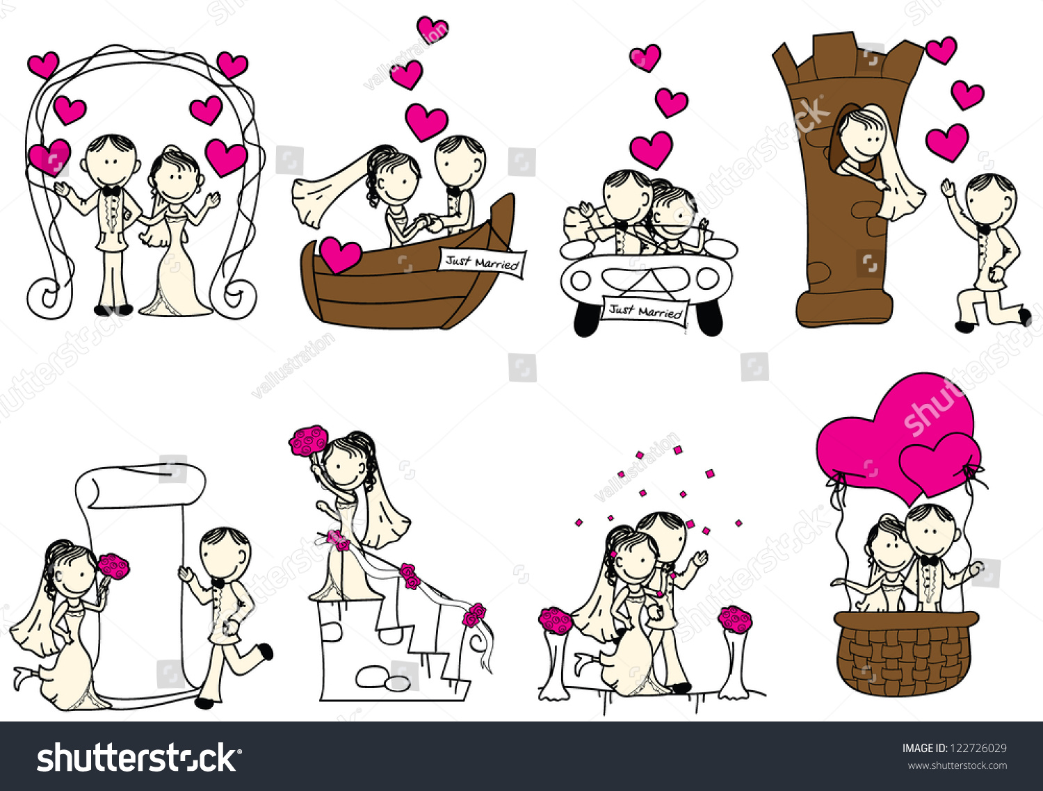 Cute Wedding Couple With Pink Hearts Stock Vector ...
