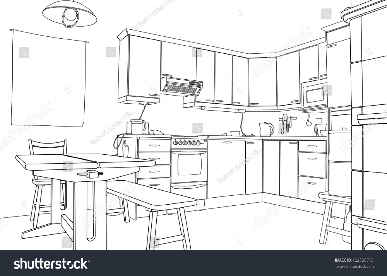 Editable Vector Illustration Outline Sketch Kitchen Stock ...