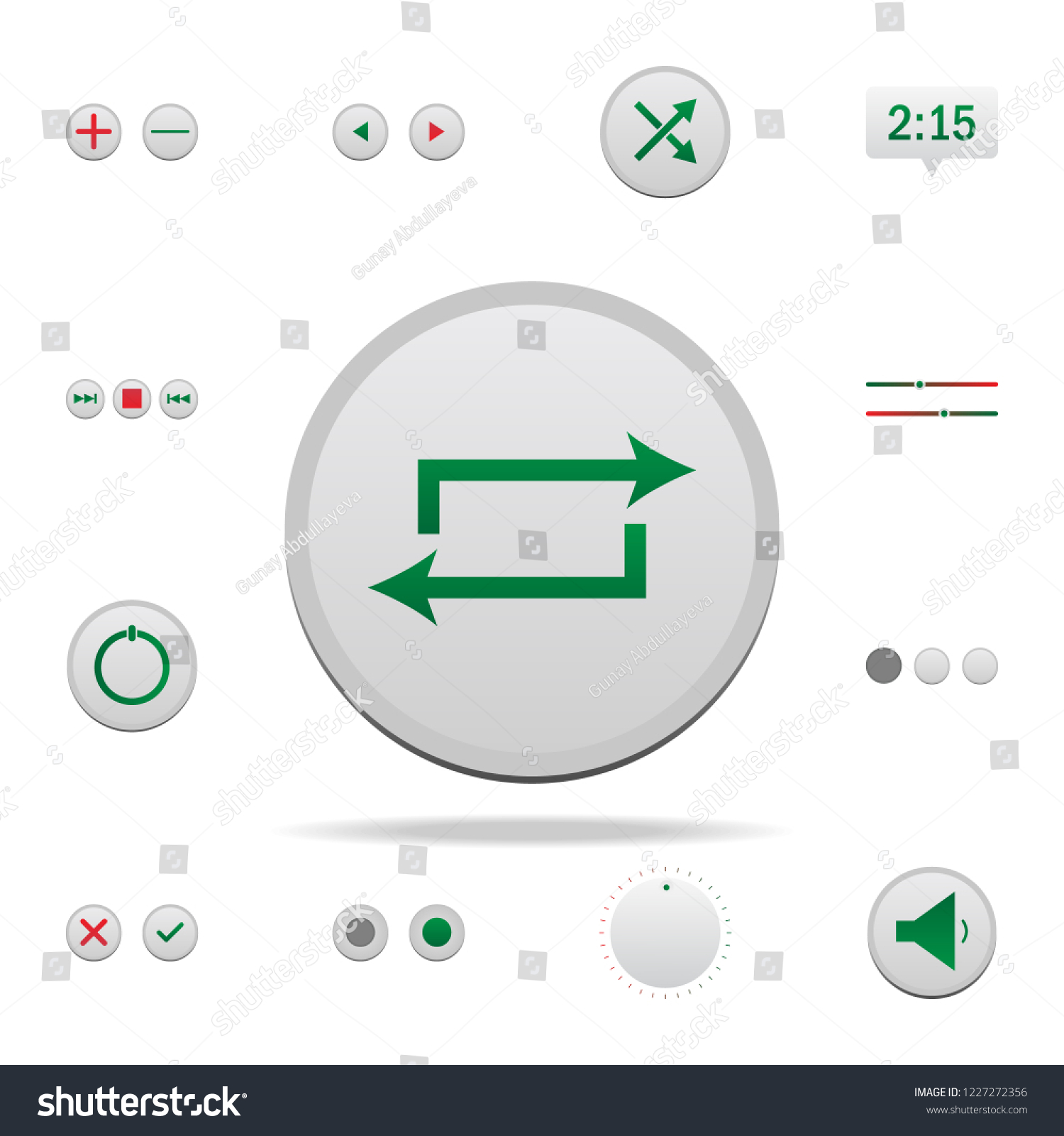 Snooze Button Colored Icon Elements Music Stock Illustration