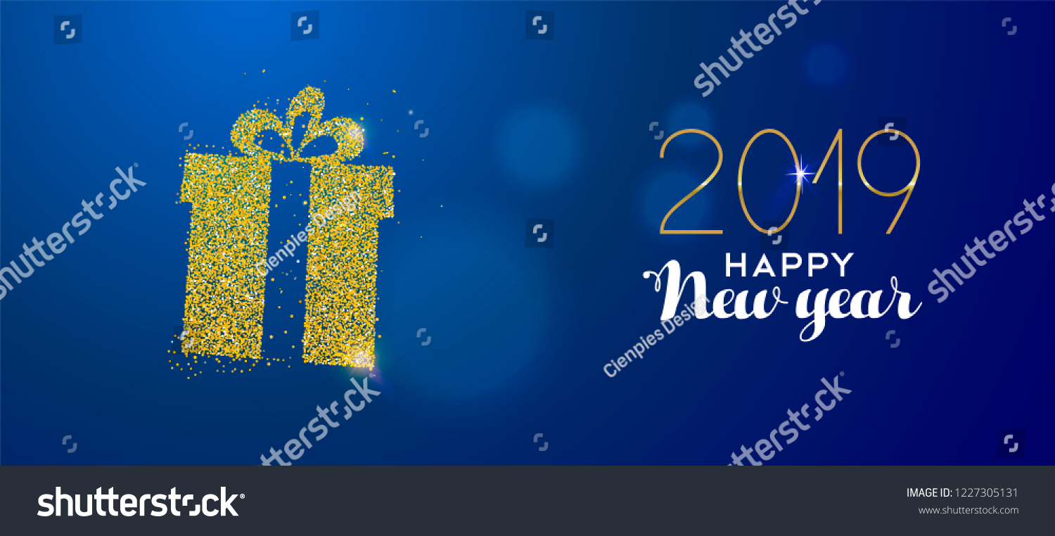happy new year 2019 message with gold gift box made of realistic golden glitter dust