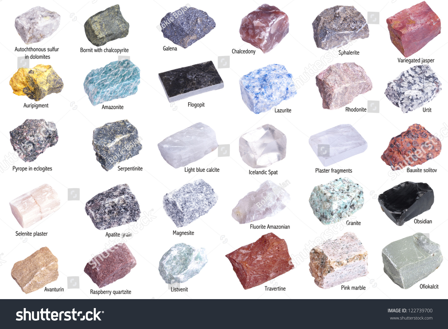 9bd96c1f5073 Collection 30 Minerals Isolated On White Stock Photo (Edit Now ...
