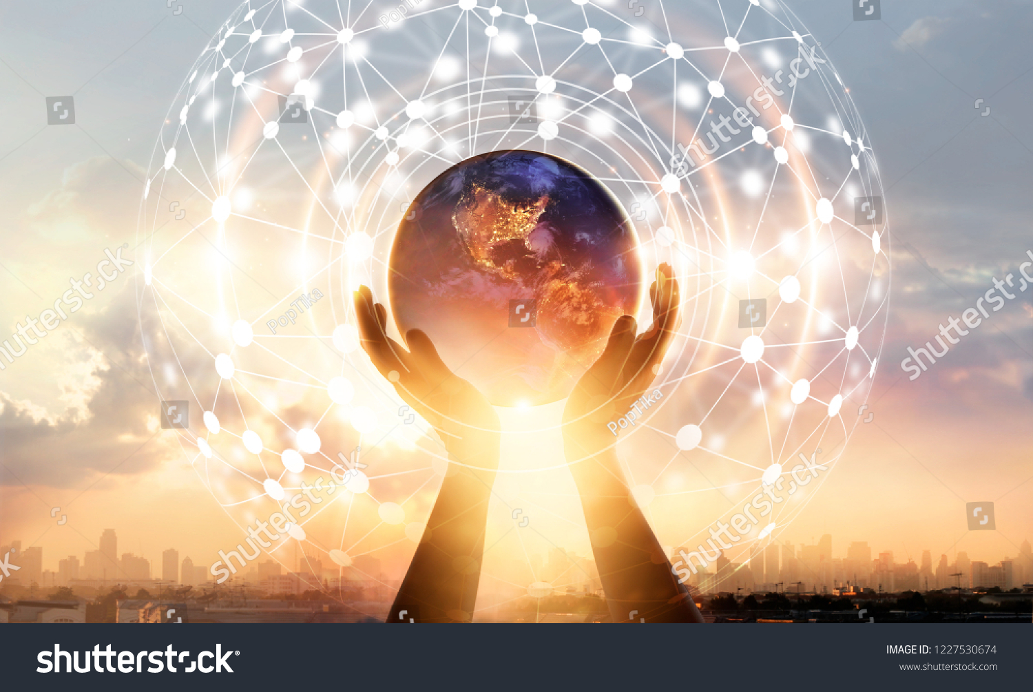 Abstract science. Hands touching earth and circle global network connection, data exchanges worldwide on city sunset background. Innovation. Creative and inspiration idea and Networking #1227530674