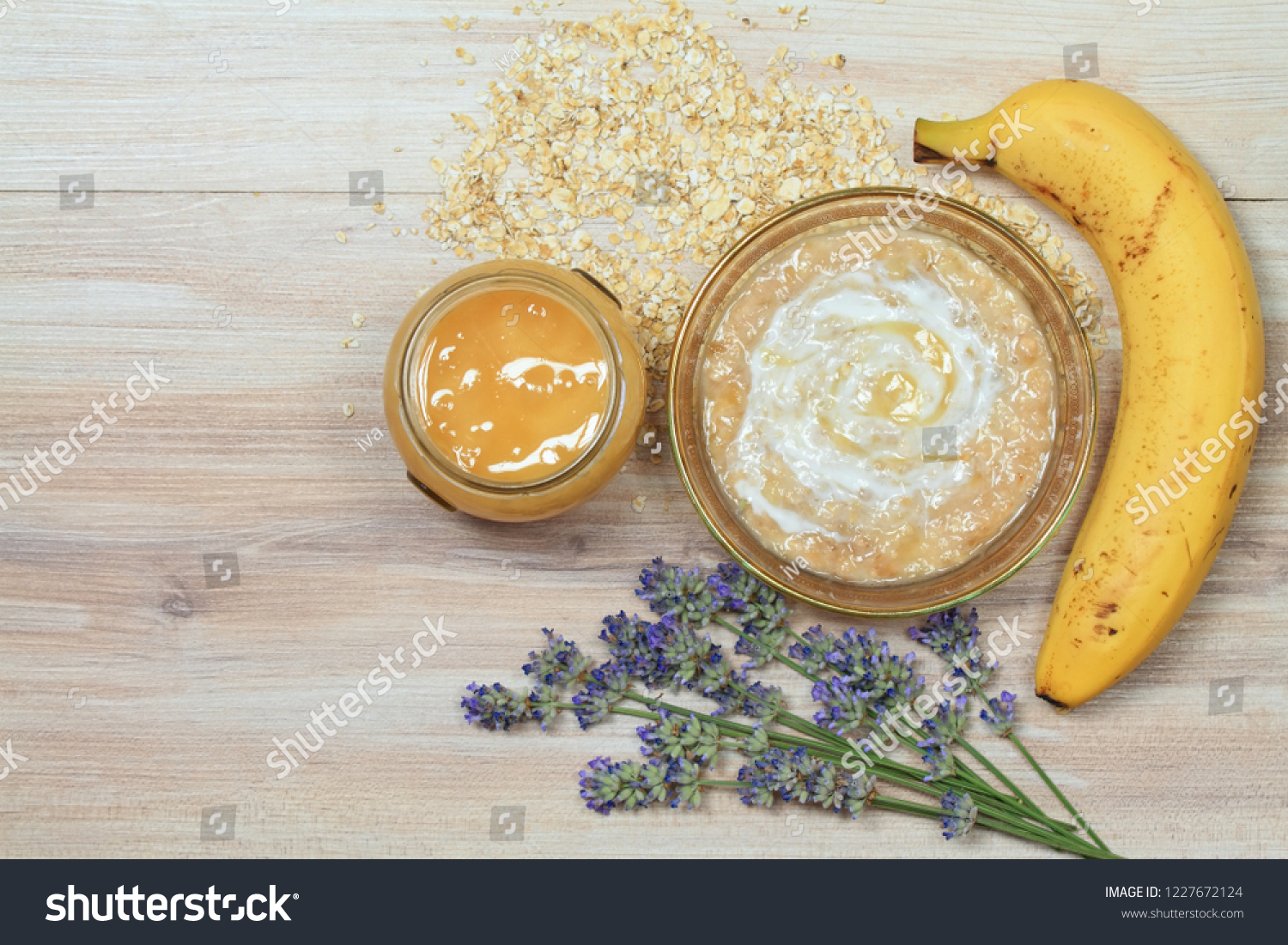 Face mask from oatmeal, yogurt, banana and honey. Ingredients for homemade facial mask
