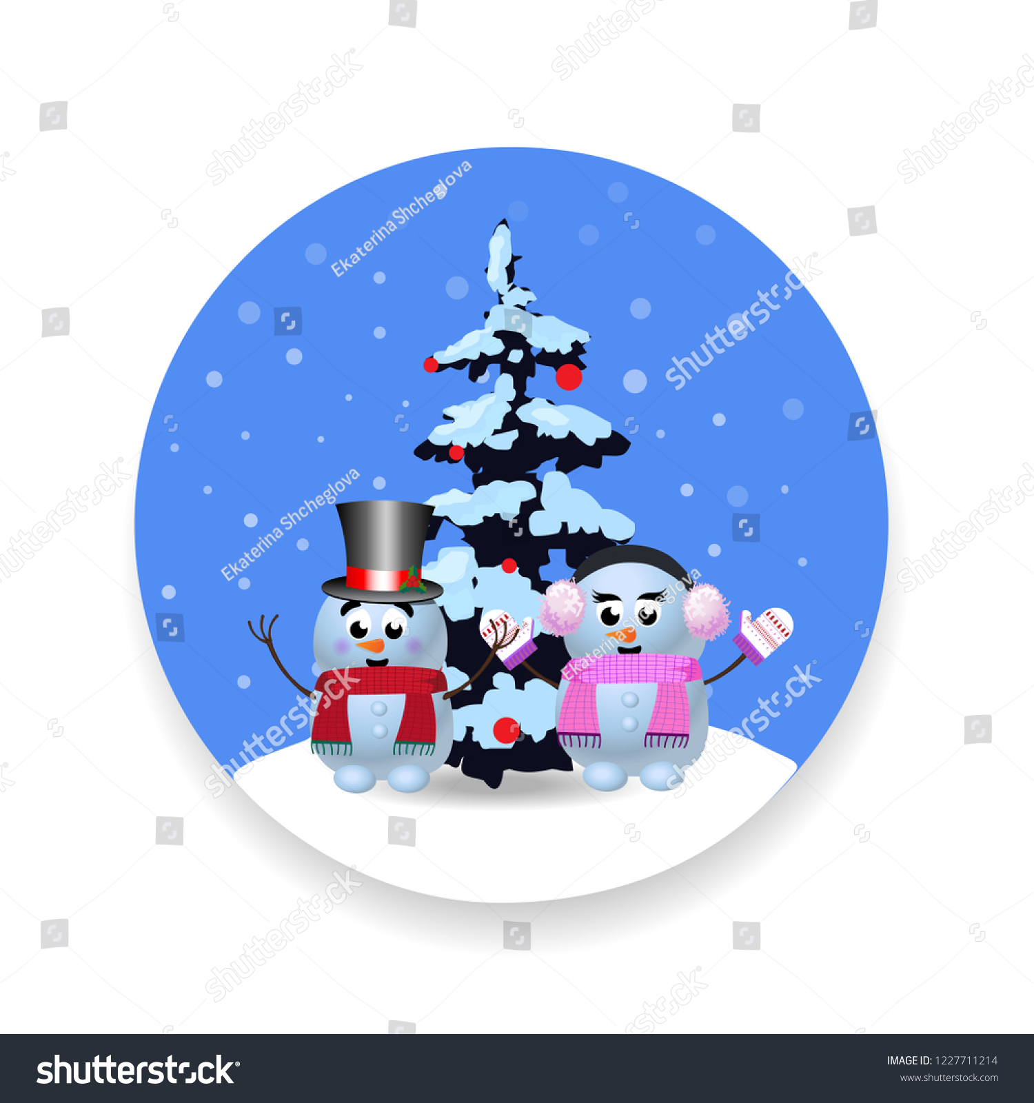 christmas new year round sign with cute cartoon snowman snowgirl and xmas tree snow