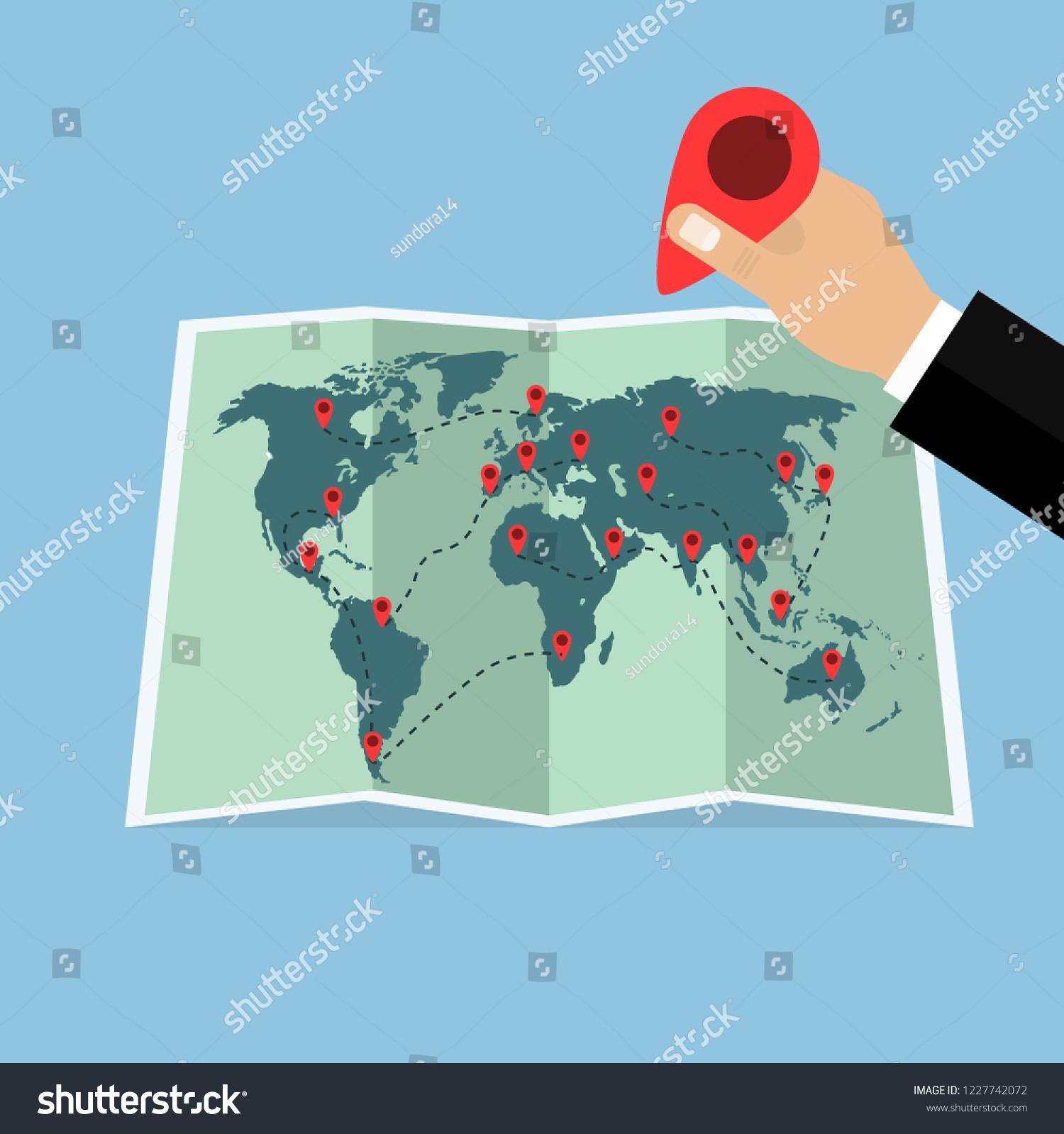 paper map world pins hand pin stock vector royalty free 1227742072