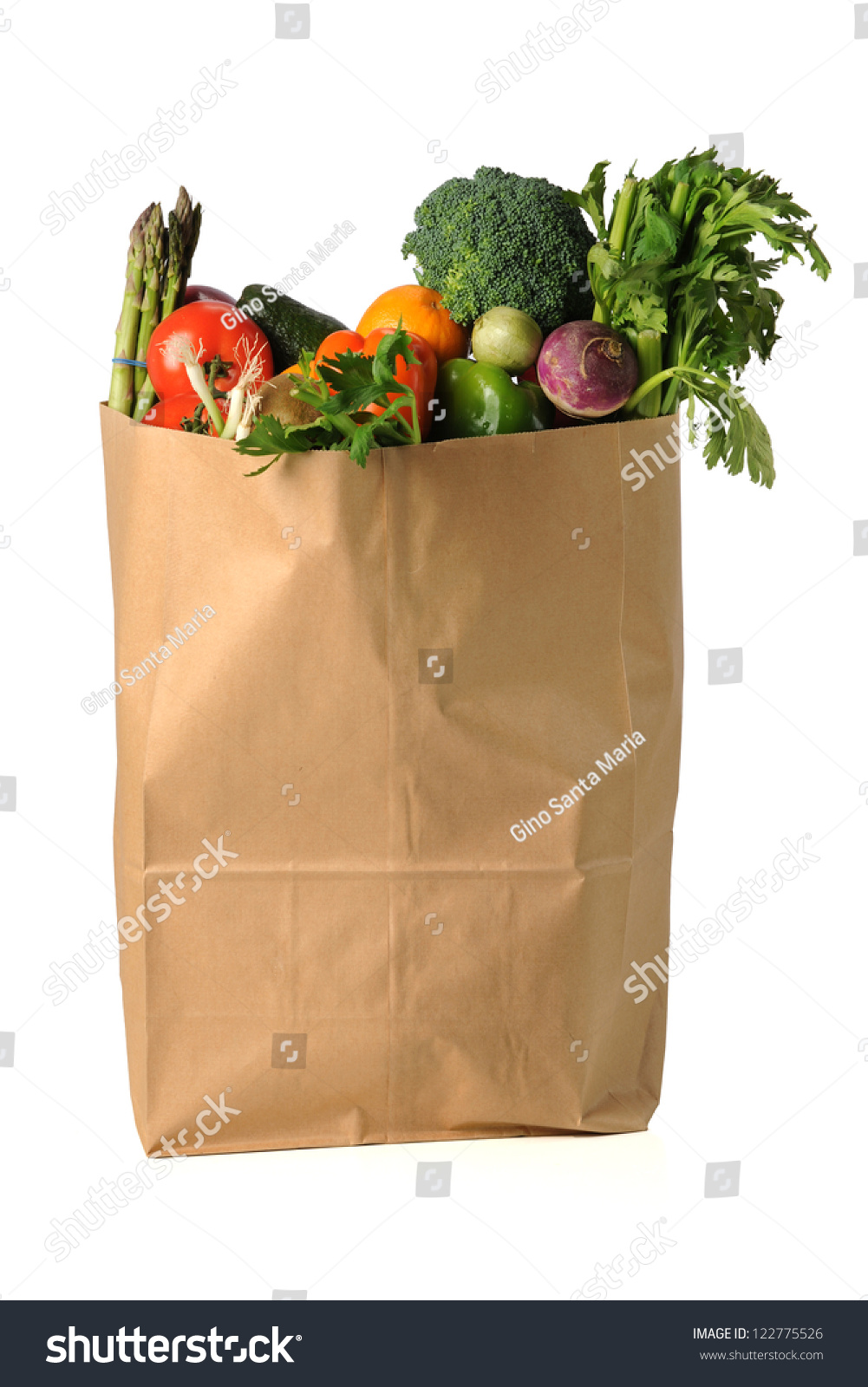 Fruits Vegetables Paper Grocery Bag Isolated Stock Photo 122775526 ...