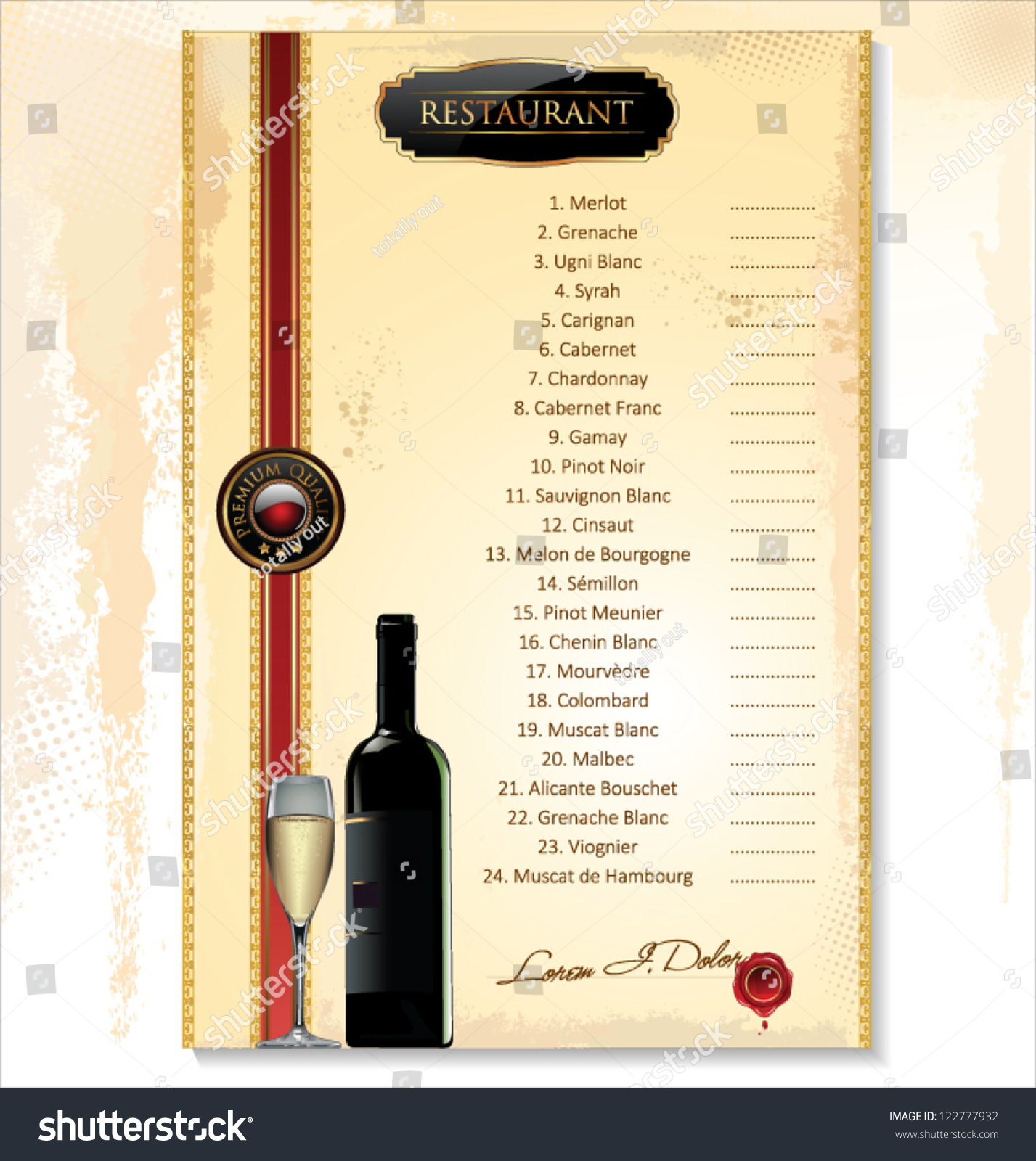 wine menu template price list stock vector 122777932 shutterstock. Black Bedroom Furniture Sets. Home Design Ideas