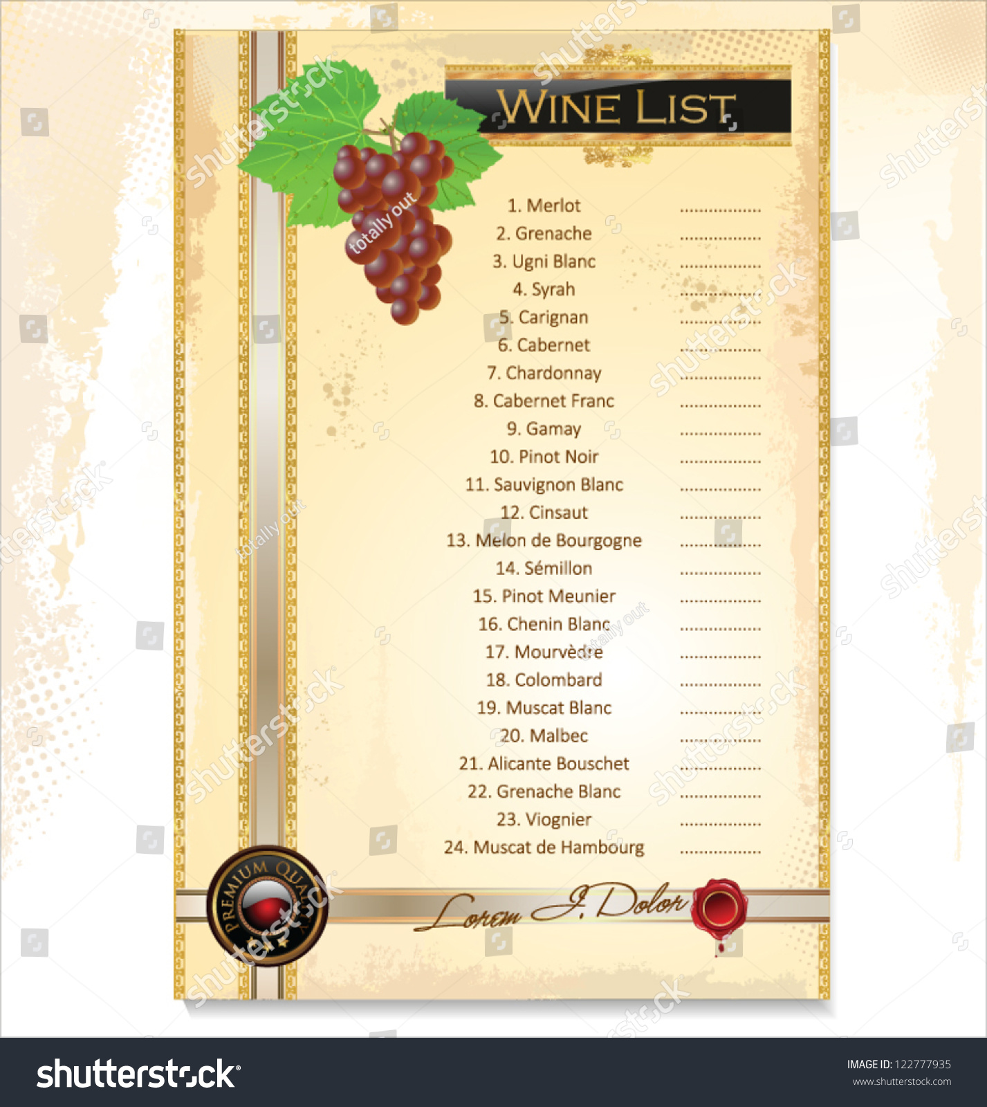 wine menu template with a price list stock vector 122777935 shutterstock. Black Bedroom Furniture Sets. Home Design Ideas