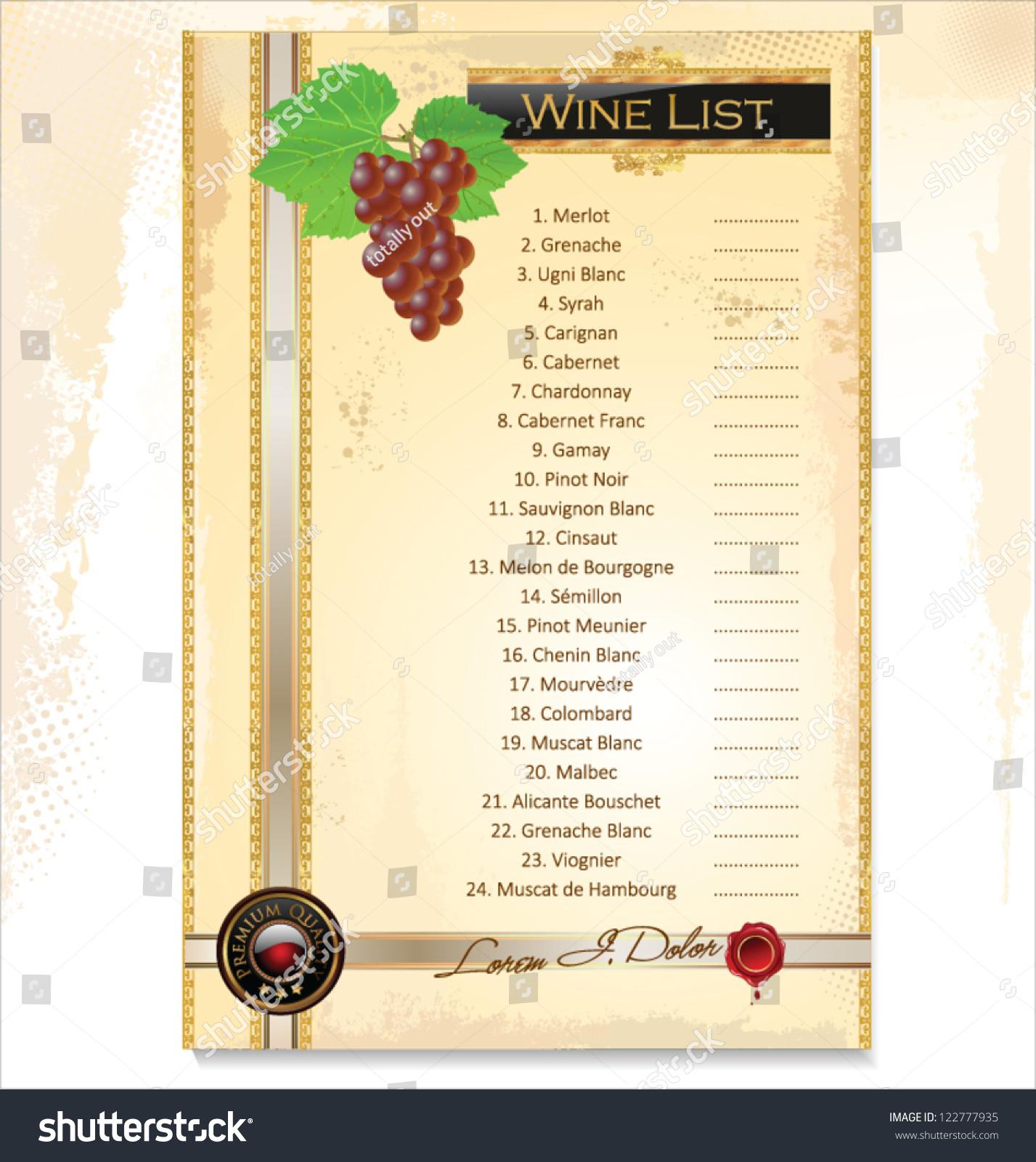 Wine Menu Template Price List Stock Vector (2018) 122777935 ...