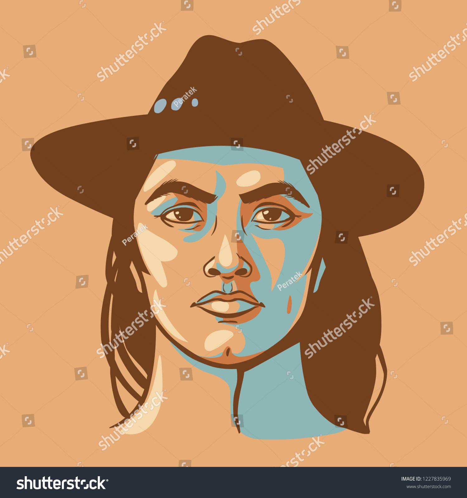 Native American Man Long Hair Vector Stock Vector Royalty Free