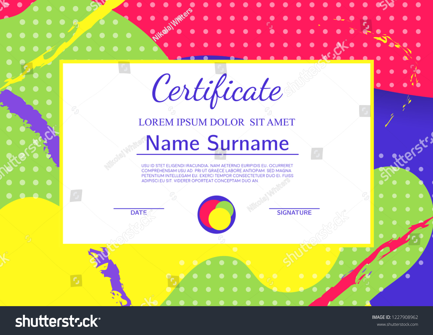 Kids Diploma Certificate Template Abstract Shapes Stock Vector
