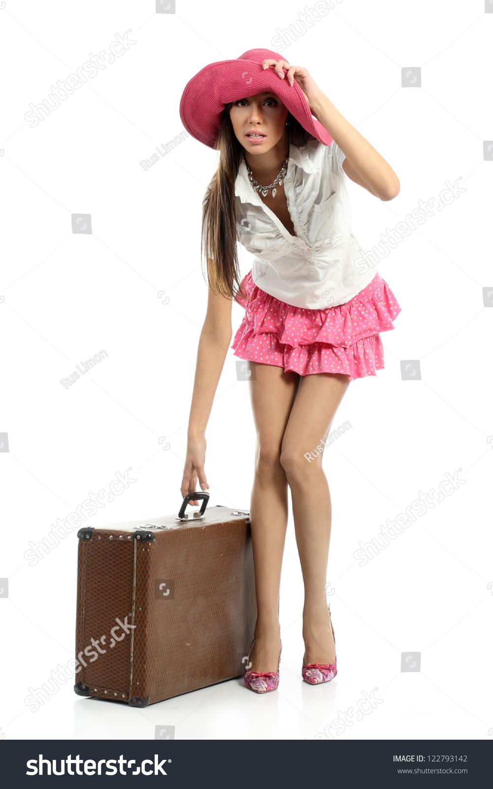 Girl Long Legs Short Skirt Widebrimmed Stock Photo 122793142 ...