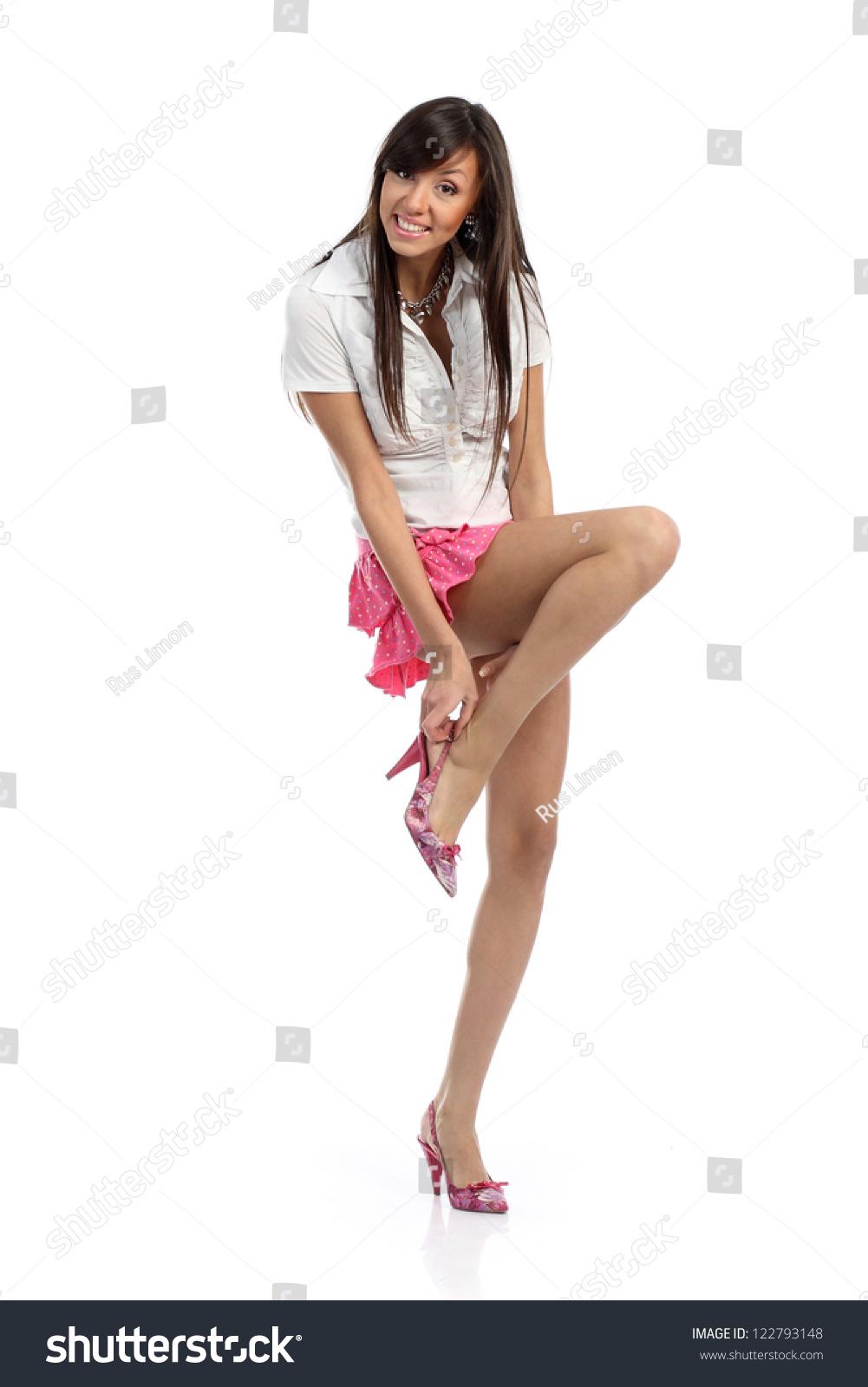Girl Long Legs Short Skirt Widebrimmed Stock Photo 122793148 ...